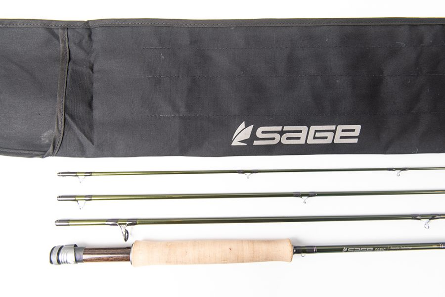 Close up view of the Sage SONIC fly rod's cork andle and reel seat