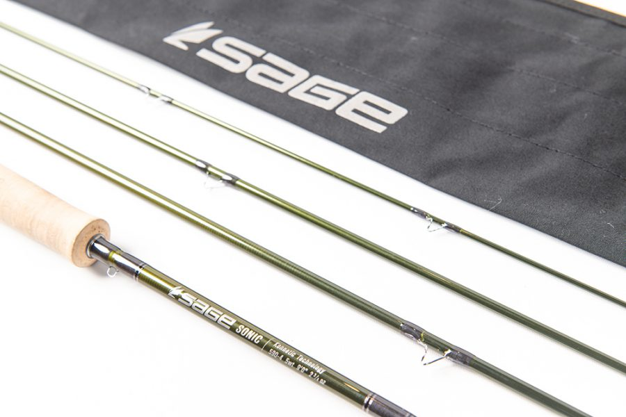 Sage logo and SONIC fly rod blank and thread wraps