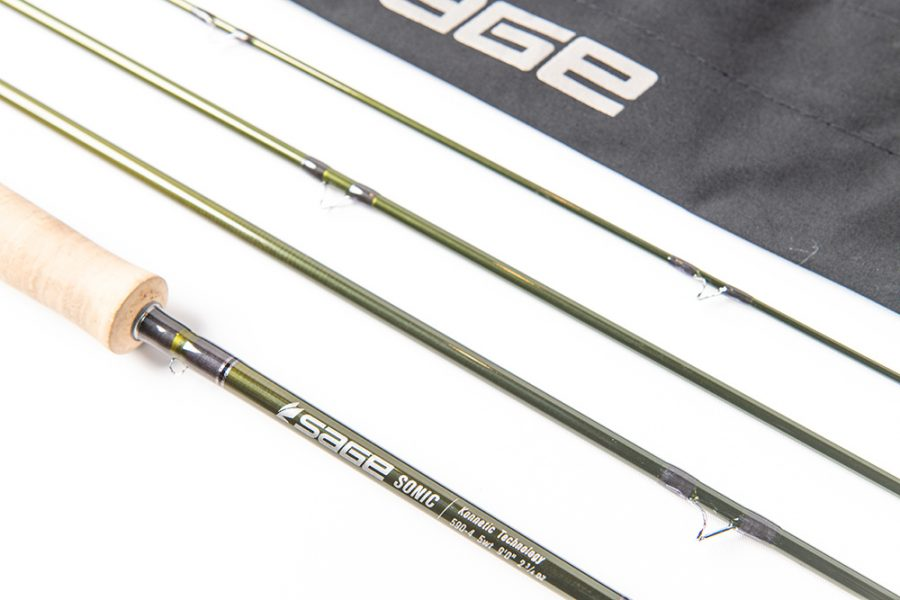 A closer look at the Sage SONIC fly rod and logo
